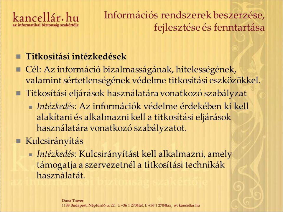 Információs rendszerek beszerzése, fejlesztése és fenntartása