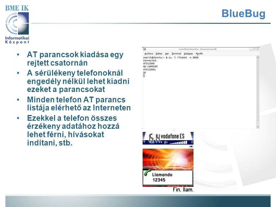 BlueBug AT parancsok kiadása egy rejtett csatornán