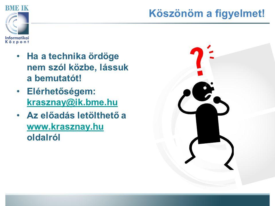 Köszönöm a figyelmet! Ha a technika ördöge nem szól közbe, lássuk a bemutatót! Elérhetőségem: krasznay@ik.bme.hu.