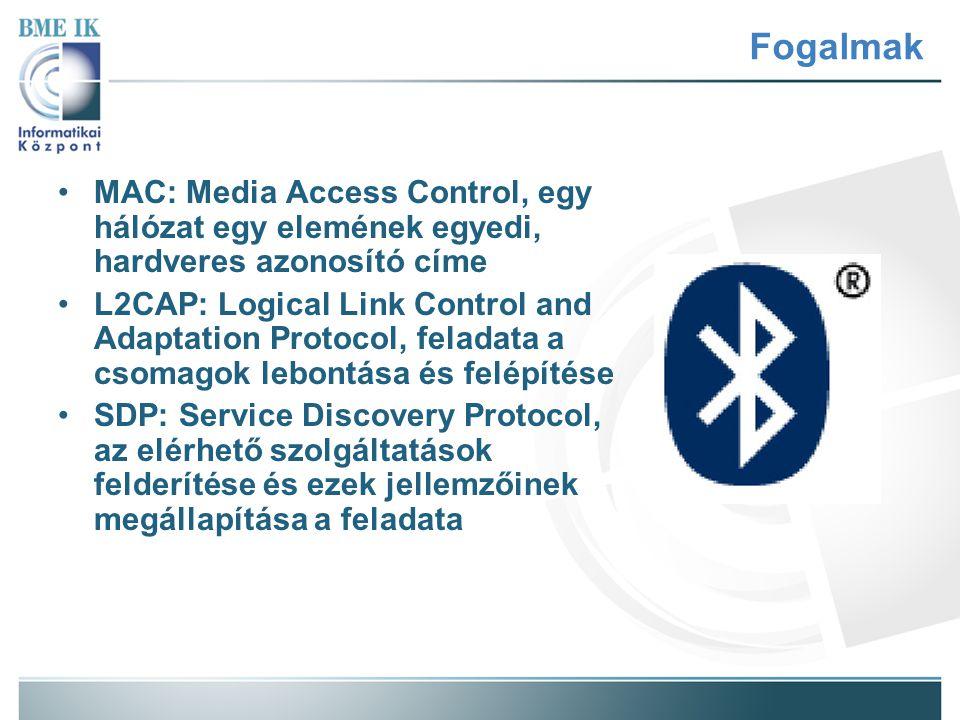 Fogalmak MAC: Media Access Control, egy hálózat egy elemének egyedi, hardveres azonosító címe.