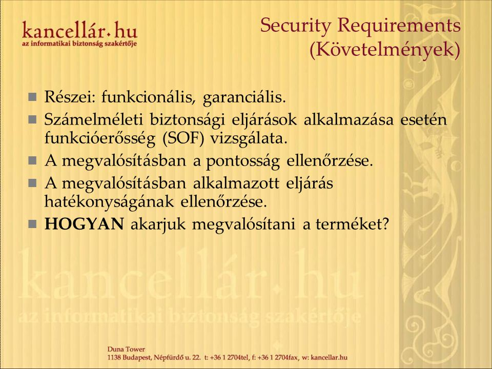 Security Requirements (Követelmények)