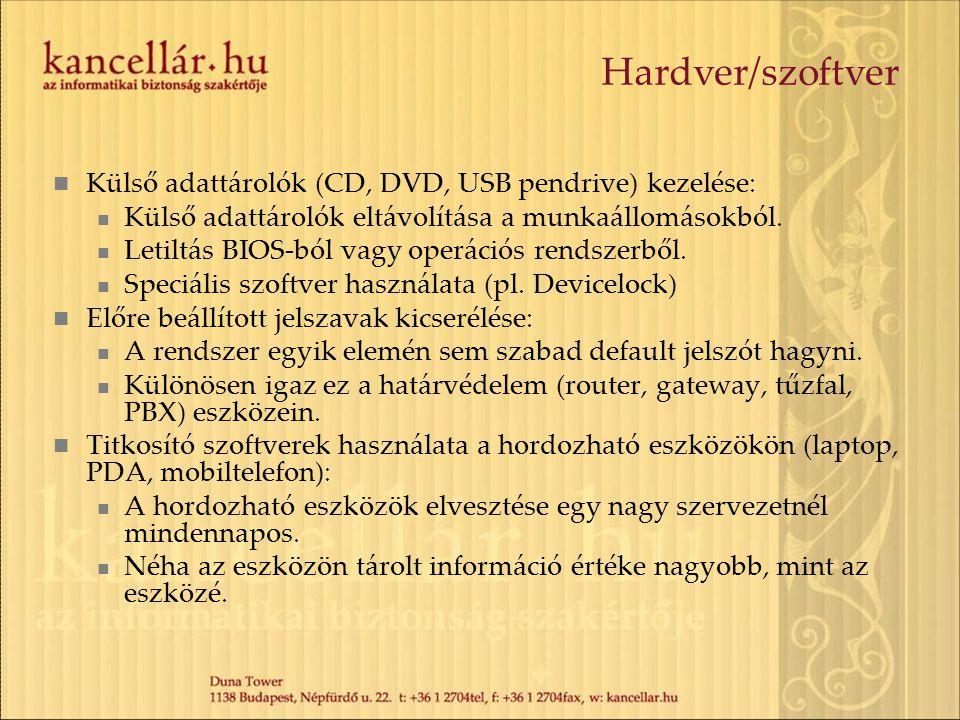 Hardver/szoftver Külső adattárolók (CD, DVD, USB pendrive) kezelése: