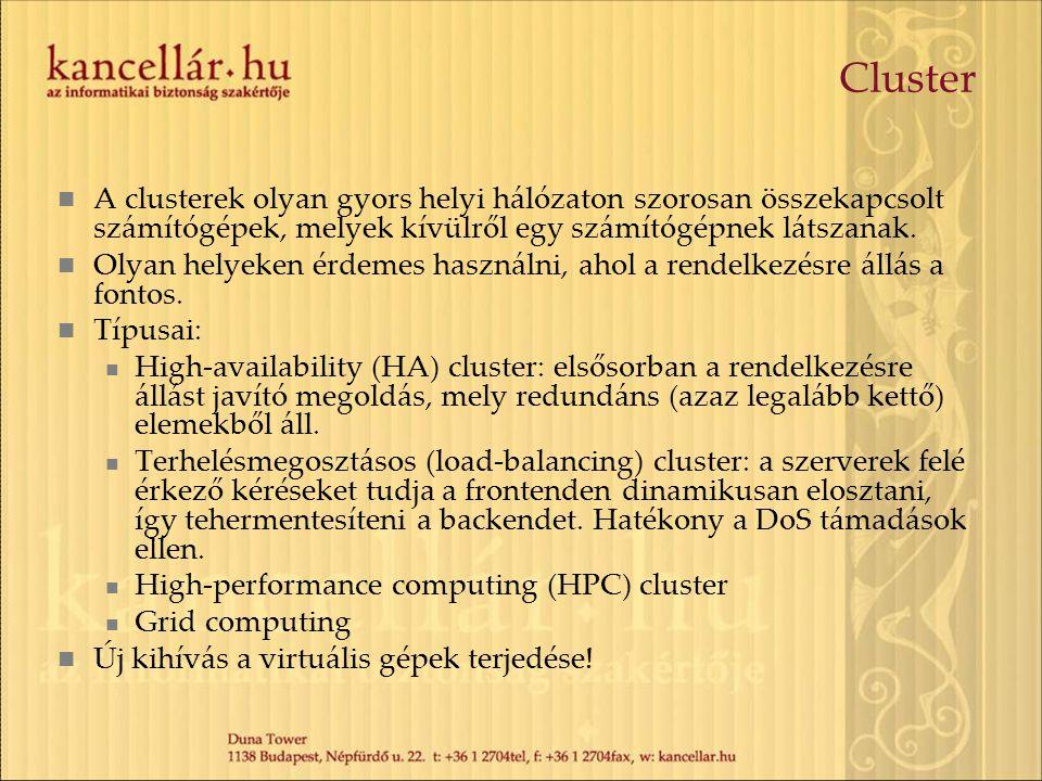 Cluster A clusterek olyan gyors helyi hálózaton szorosan összekapcsolt számítógépek, melyek kívülről egy számítógépnek látszanak.