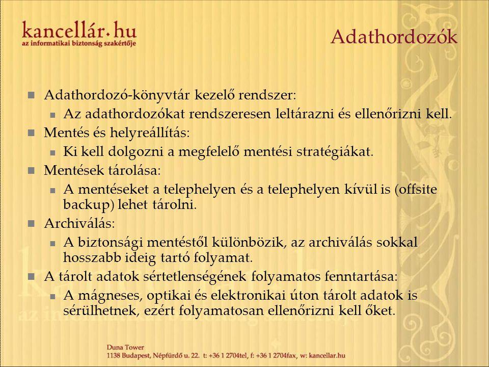 Adathordozók Adathordozó-könyvtár kezelő rendszer: