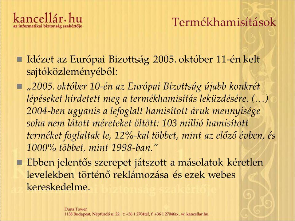 Termékhamisítások Idézet az Európai Bizottság 2005. október 11-én kelt sajtóközleményéből: