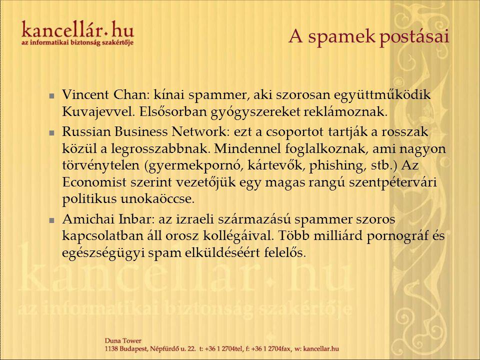 A spamek postásai Vincent Chan: kínai spammer, aki szorosan együttműködik Kuvajevvel. Elsősorban gyógyszereket reklámoznak.