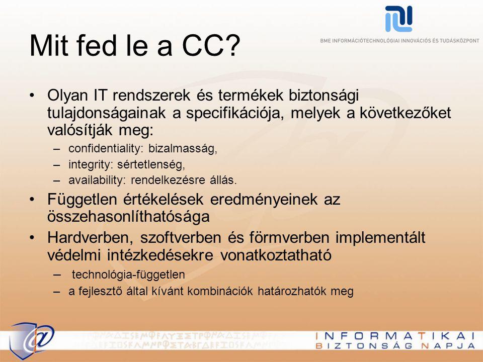 Mit fed le a CC Olyan IT rendszerek és termékek biztonsági tulajdonságainak a specifikációja, melyek a következőket valósítják meg: