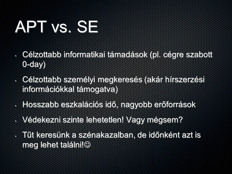 APT vs. SE Célzottabb informatikai támadások (pl. cégre szabott 0-day)