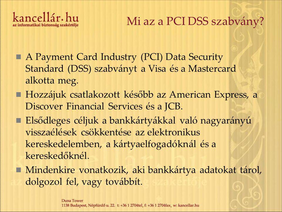 Mi az a PCI DSS szabvány A Payment Card Industry (PCI) Data Security Standard (DSS) szabványt a Visa és a Mastercard alkotta meg.