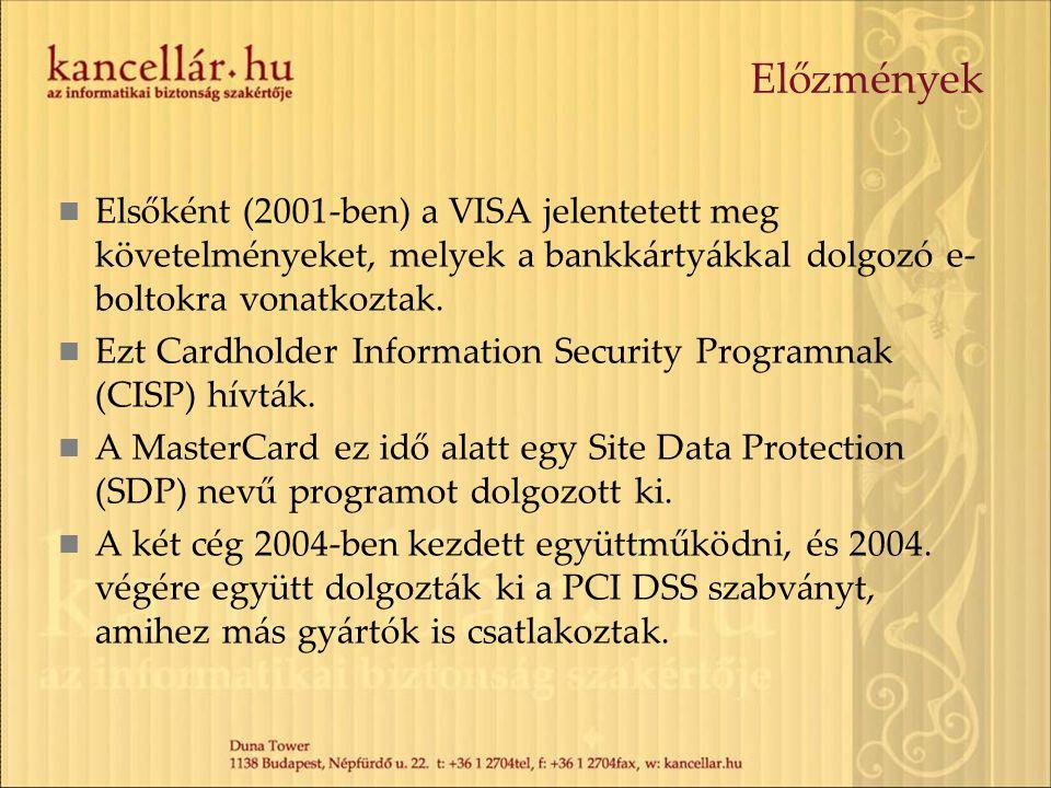 Előzmények Elsőként (2001-ben) a VISA jelentetett meg követelményeket, melyek a bankkártyákkal dolgozó e-boltokra vonatkoztak.