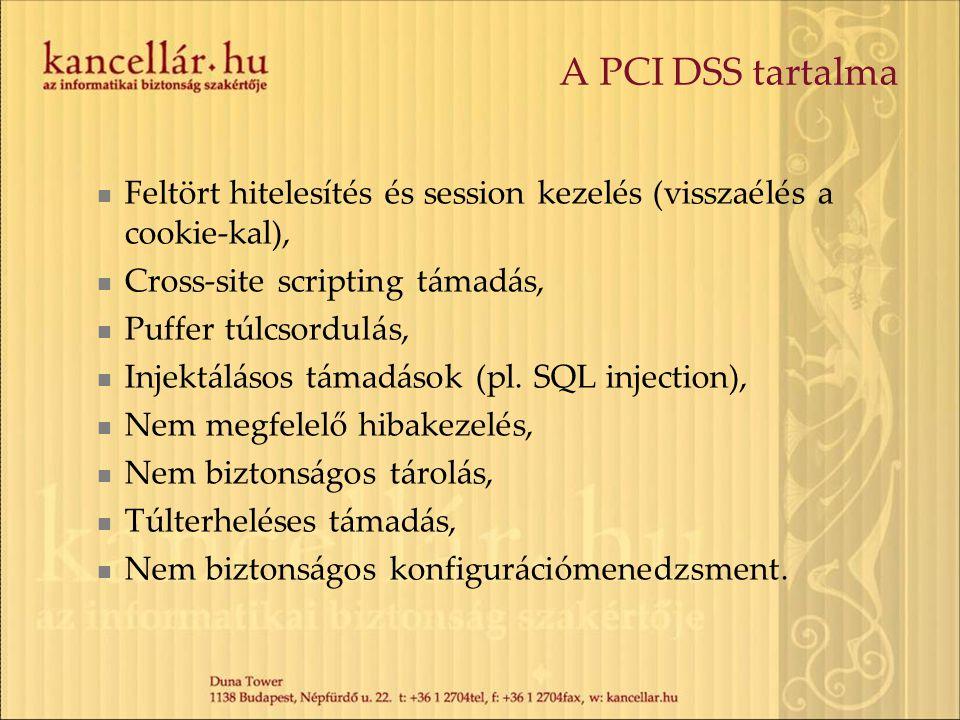 A PCI DSS tartalma Feltört hitelesítés és session kezelés (visszaélés a cookie-kal), Cross-site scripting támadás,