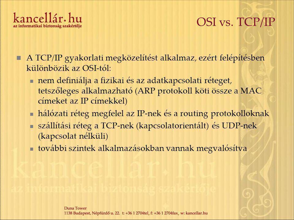 OSI vs. TCP/IP A TCP/IP gyakorlati megközelítést alkalmaz, ezért felépítésben különbözik az OSI-tól: