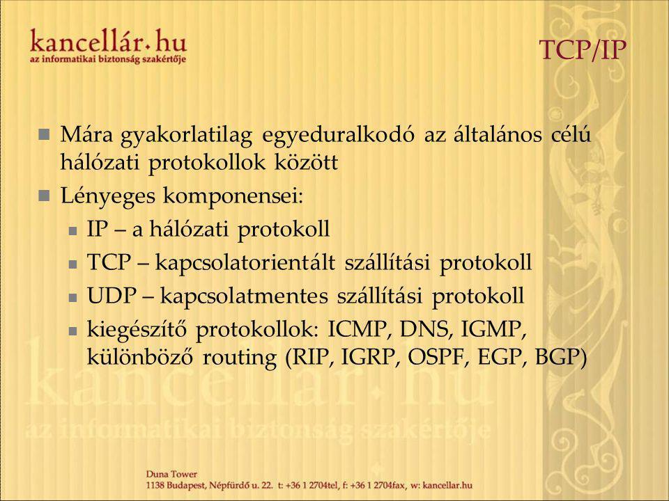 TCP/IP Mára gyakorlatilag egyeduralkodó az általános célú hálózati protokollok között. Lényeges komponensei: