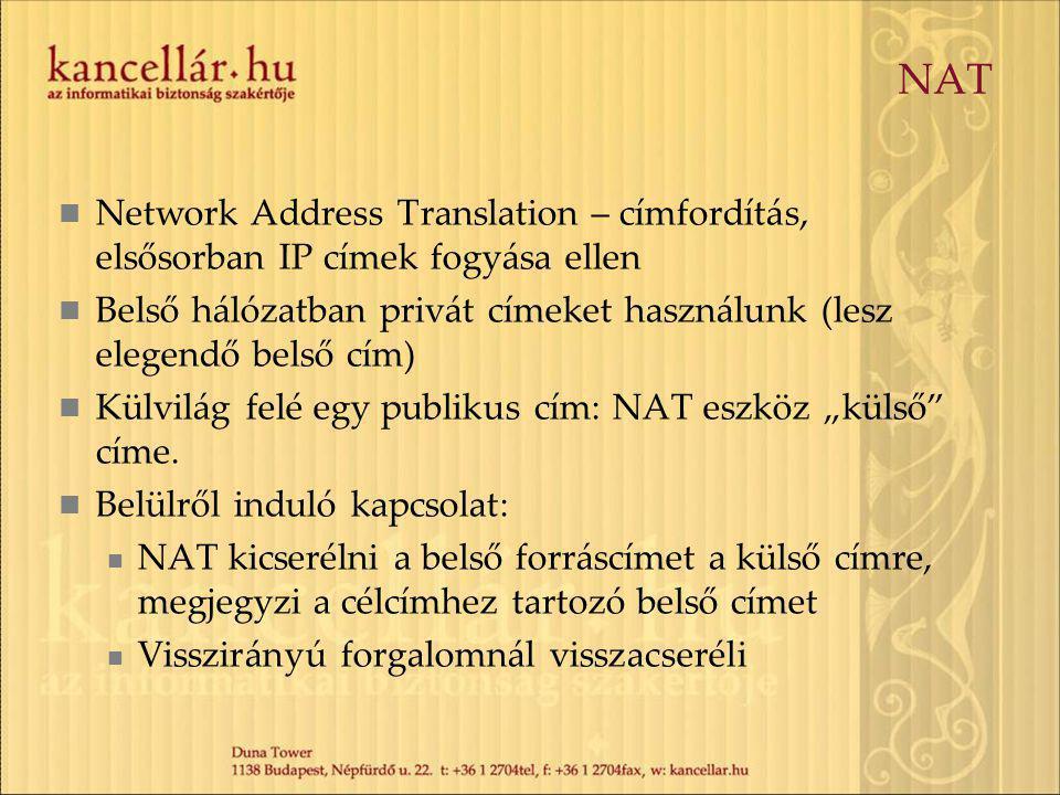 NAT Network Address Translation – címfordítás, elsősorban IP címek fogyása ellen.