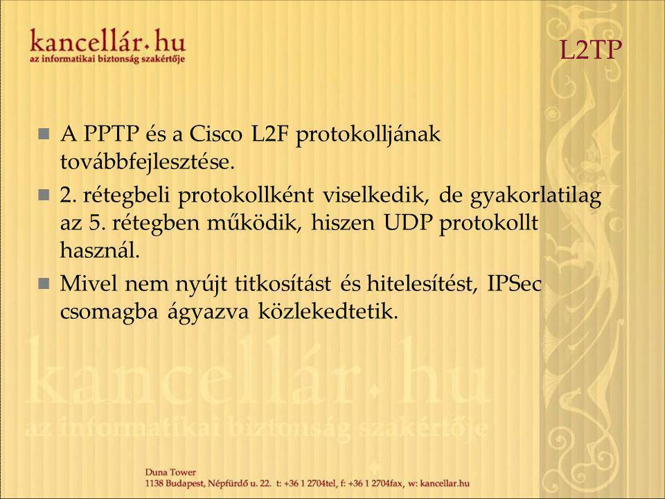L2TP A PPTP és a Cisco L2F protokolljának továbbfejlesztése.