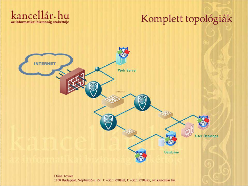 Komplett topológiák Web Server Switch User Desktops Database