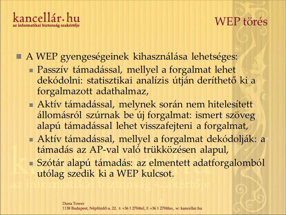 WEP törés A WEP gyengeségeinek kihasználása lehetséges: