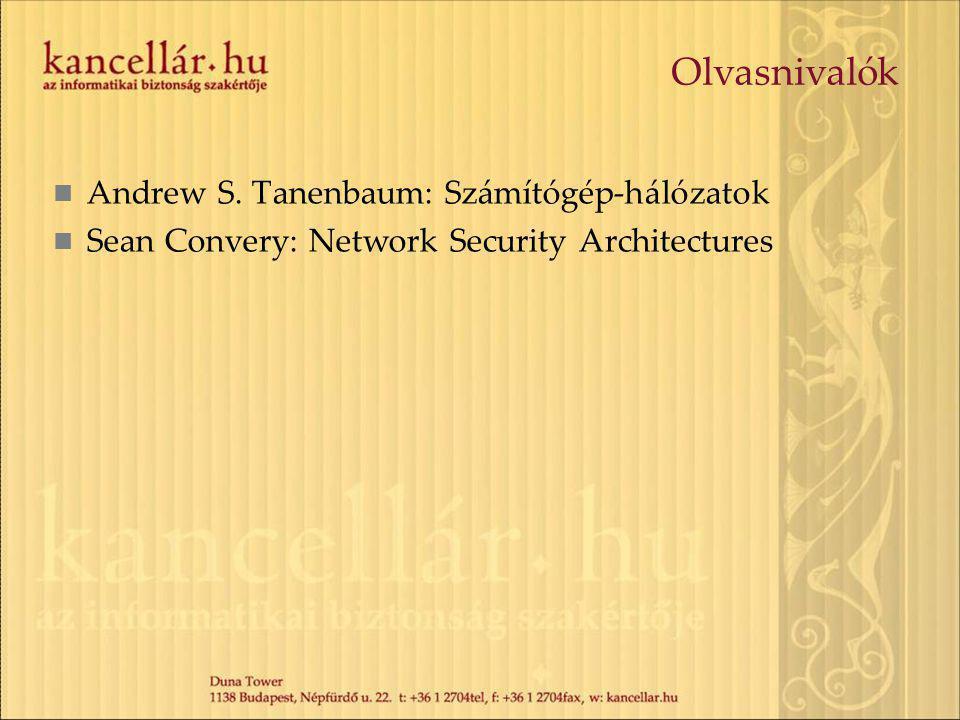 Olvasnivalók Andrew S. Tanenbaum: Számítógép-hálózatok