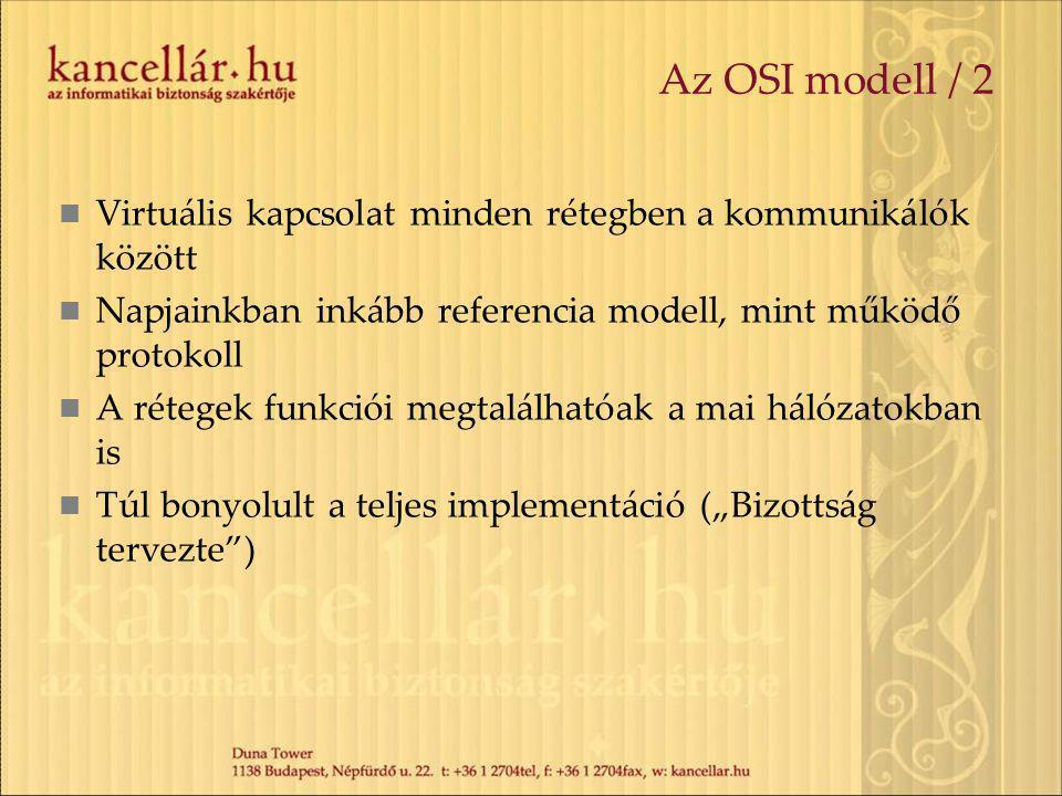 Az OSI modell / 2 Virtuális kapcsolat minden rétegben a kommunikálók között. Napjainkban inkább referencia modell, mint működő protokoll.