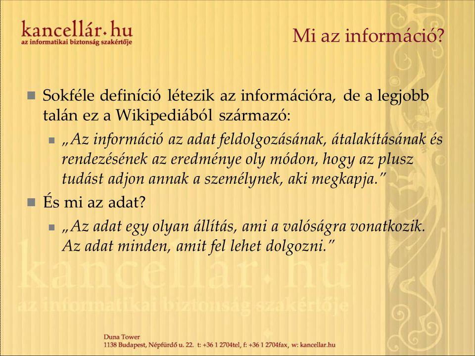 Mi az információ Sokféle definíció létezik az információra, de a legjobb talán ez a Wikipediából származó: