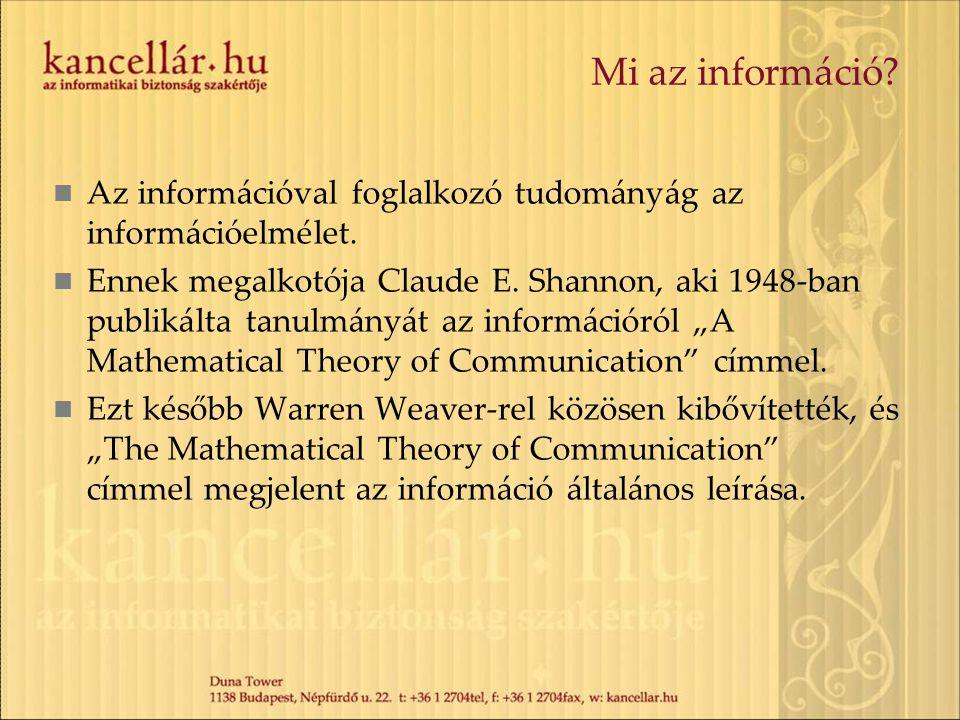 Mi az információ Az információval foglalkozó tudományág az információelmélet.