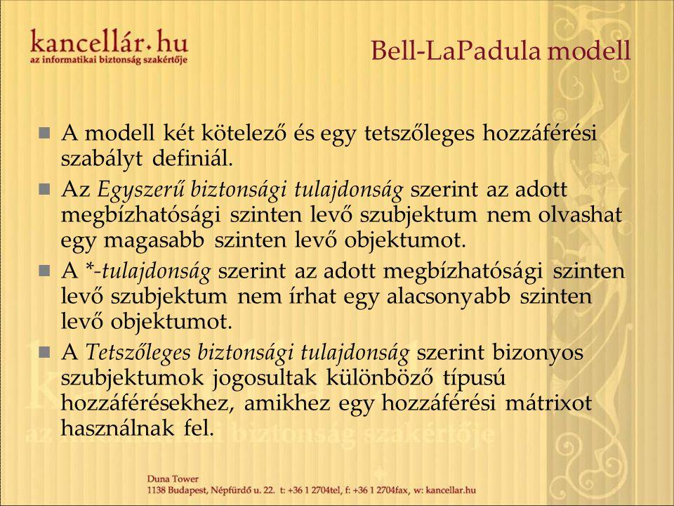 Bell-LaPadula modell A modell két kötelező és egy tetszőleges hozzáférési szabályt definiál.