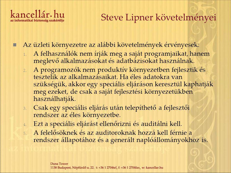 Steve Lipner követelményei