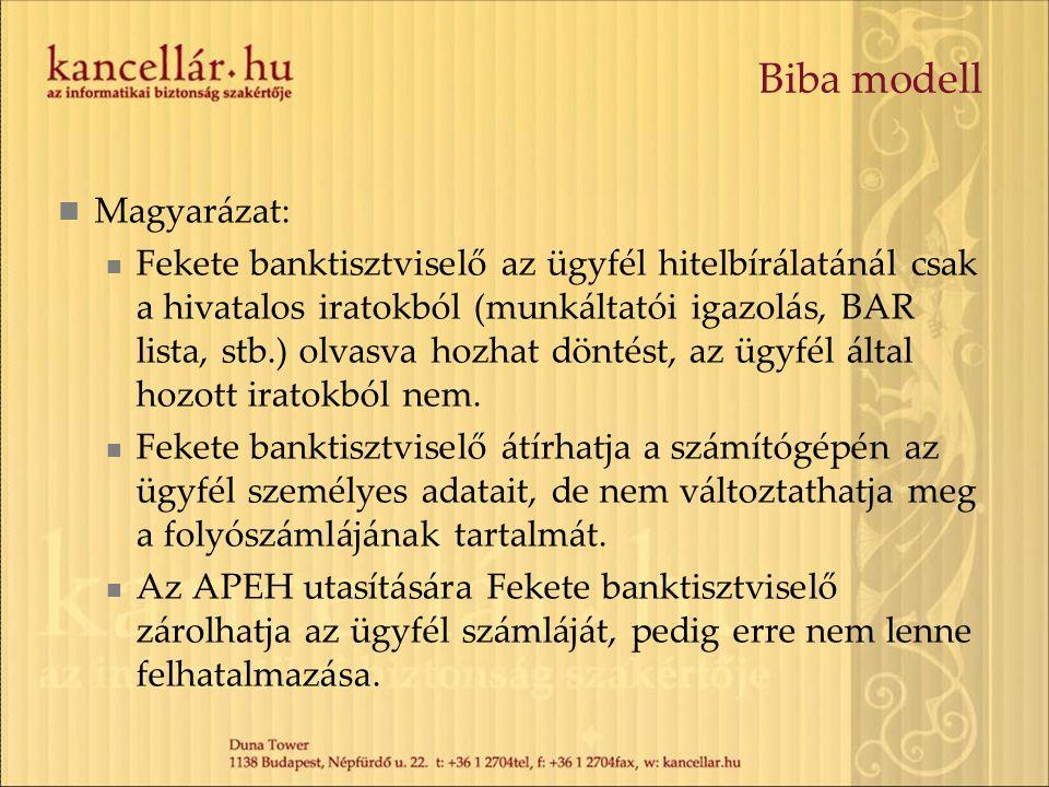 Biba modell Magyarázat:
