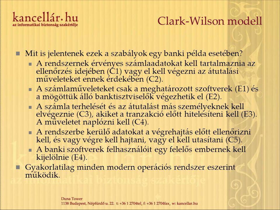 Clark-Wilson modell Mit is jelentenek ezek a szabályok egy banki példa esetében