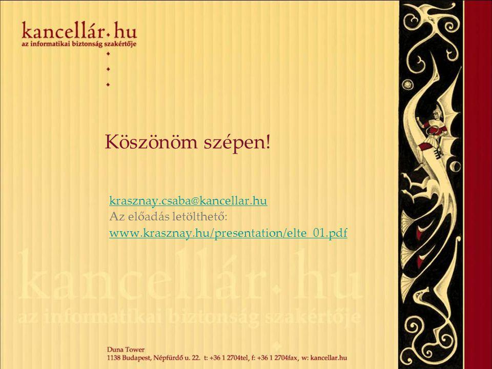 Köszönöm szépen! krasznay.csaba@kancellar.hu Az előadás letölthető: