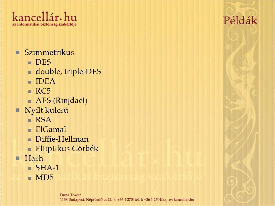 Példák Szimmetrikus DES double, triple-DES IDEA RC5 AES (Rinjdael)