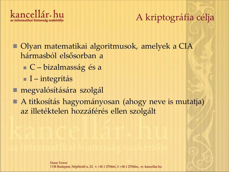 A kriptográfia célja Olyan matematikai algoritmusok, amelyek a CIA hármasból elsősorban a. C – bizalmasság és a.