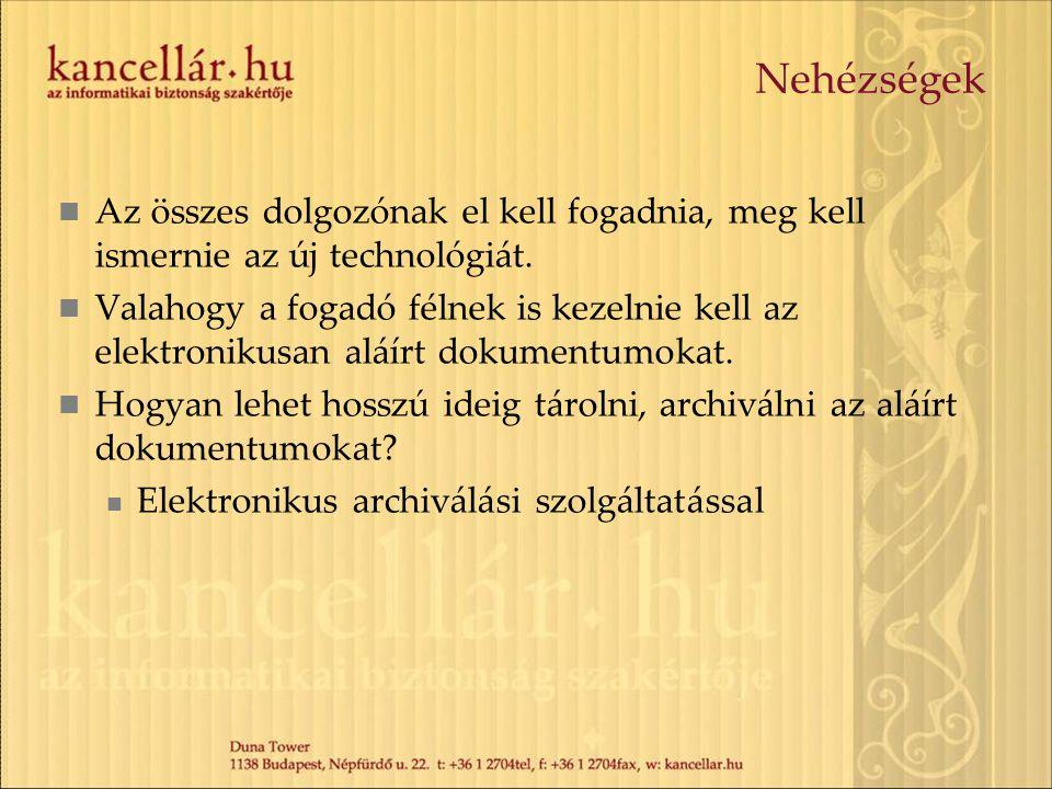 Nehézségek Az összes dolgozónak el kell fogadnia, meg kell ismernie az új technológiát.