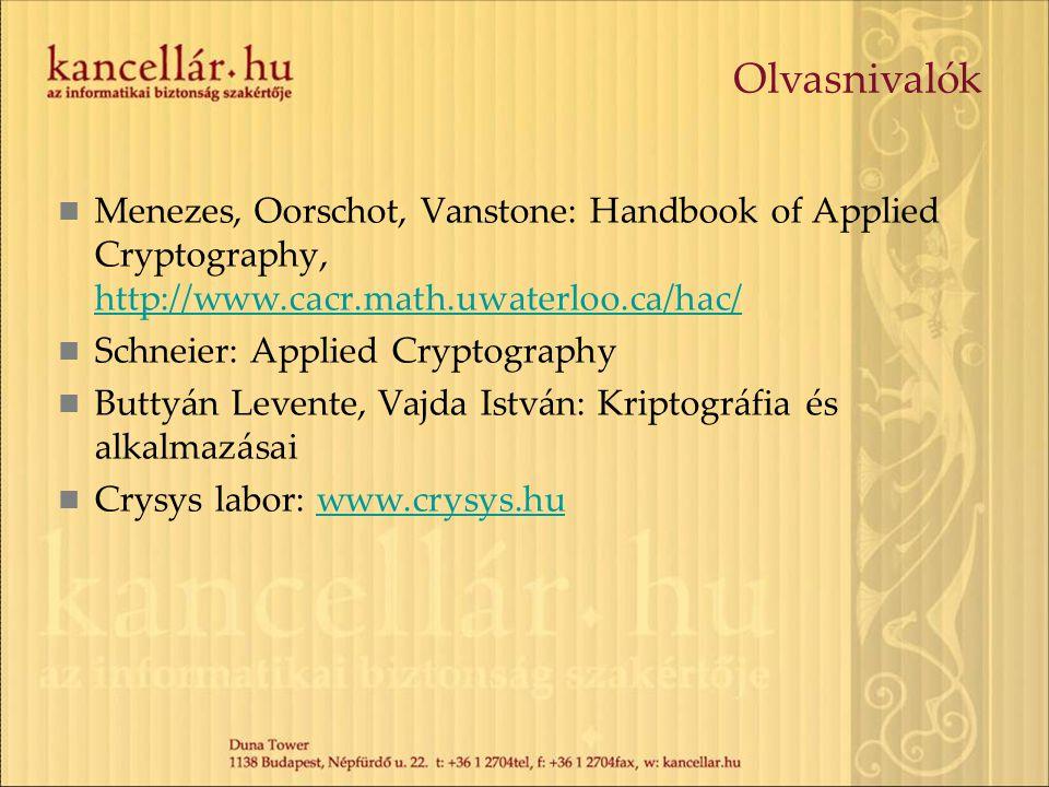 Olvasnivalók Menezes, Oorschot, Vanstone: Handbook of Applied Cryptography, http://www.cacr.math.uwaterloo.ca/hac/