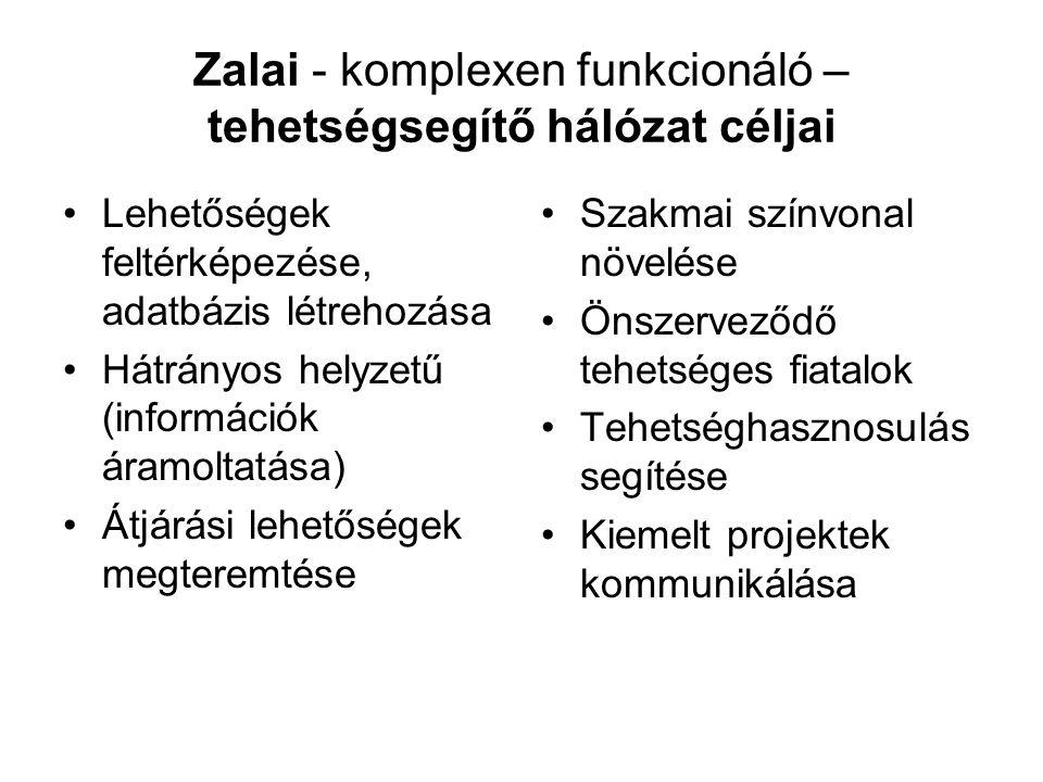 Zalai - komplexen funkcionáló – tehetségsegítő hálózat céljai