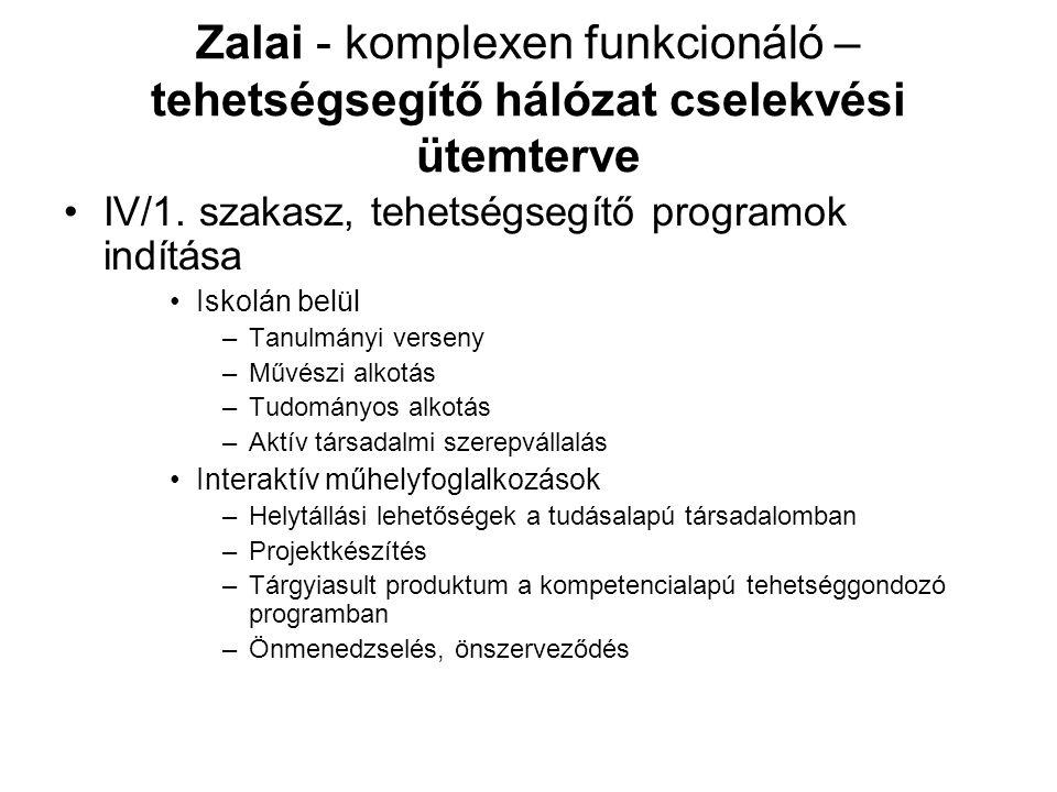Zalai - komplexen funkcionáló – tehetségsegítő hálózat cselekvési ütemterve