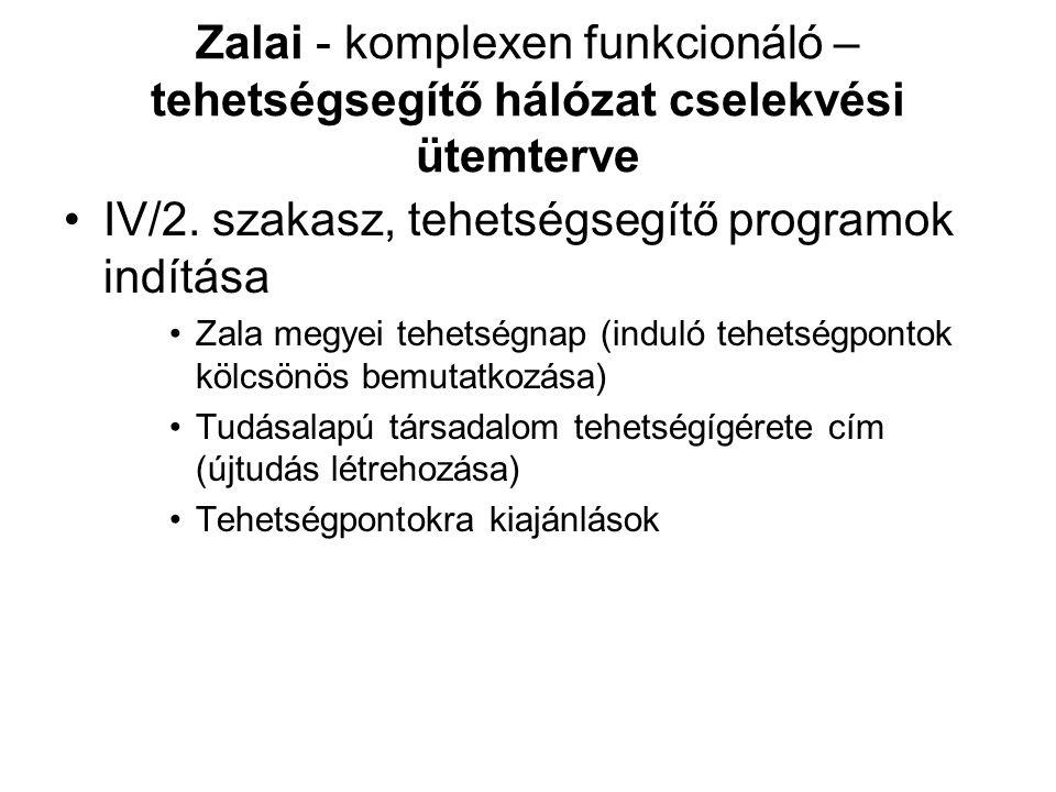 IV/2. szakasz, tehetségsegítő programok indítása