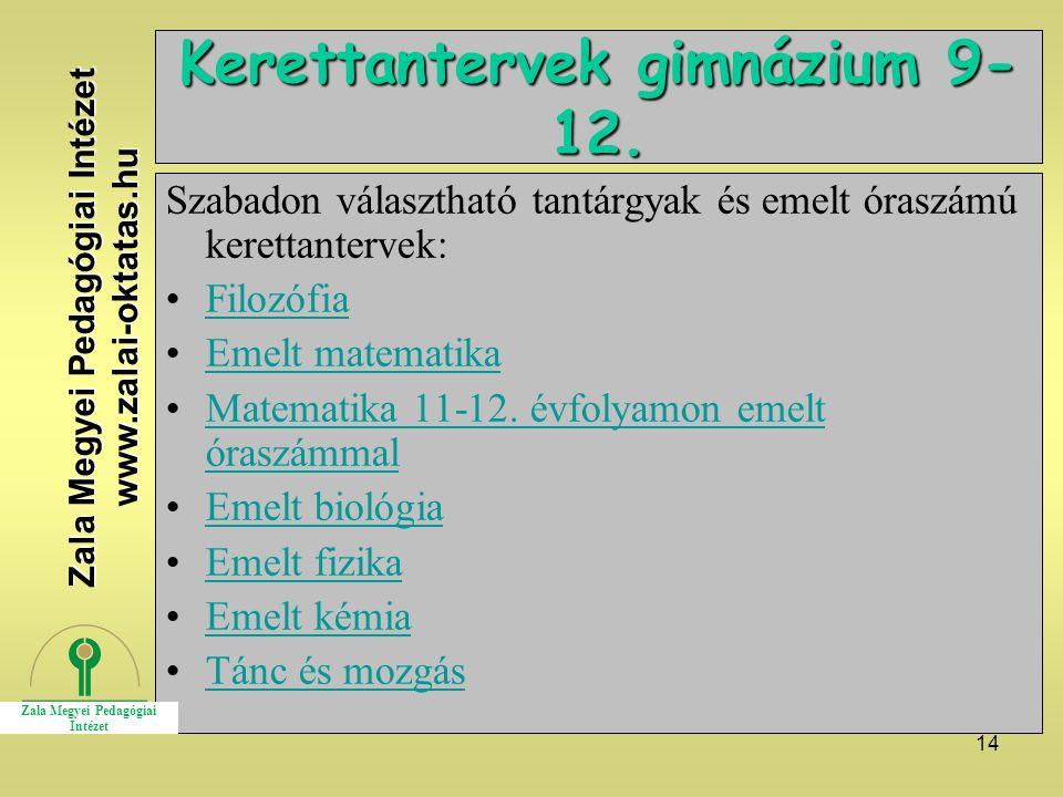 Kerettantervek gimnázium 9-12.