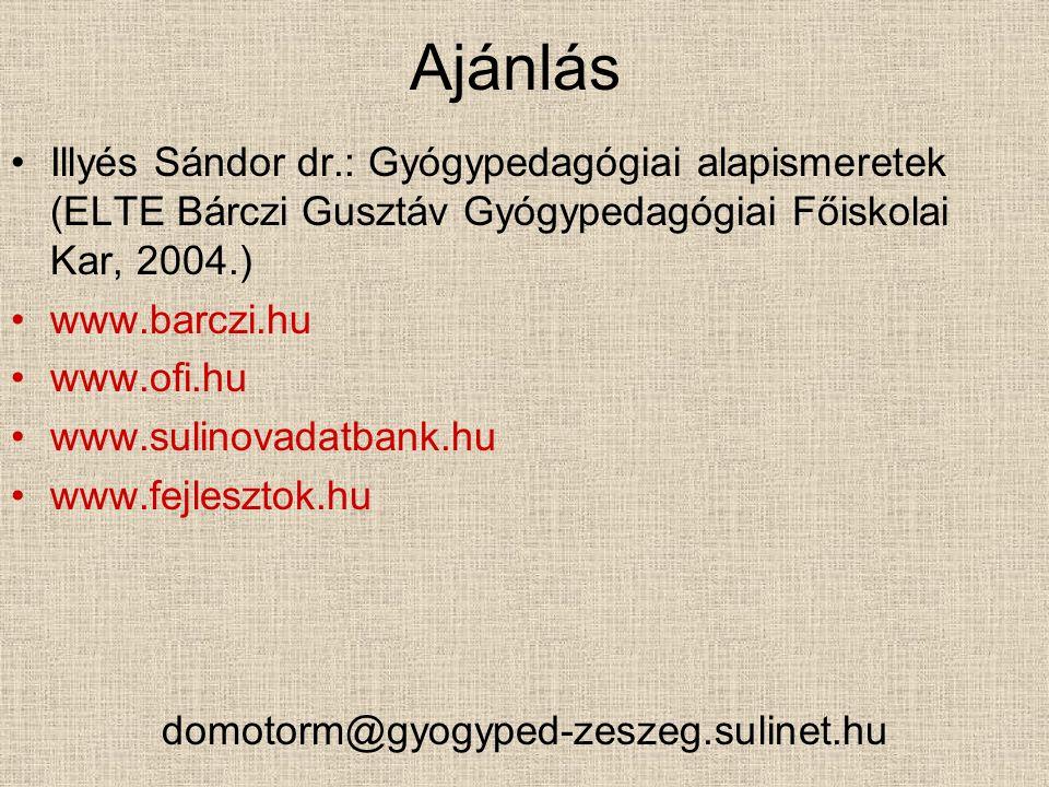 Ajánlás Illyés Sándor dr.: Gyógypedagógiai alapismeretek (ELTE Bárczi Gusztáv Gyógypedagógiai Főiskolai Kar, 2004.)