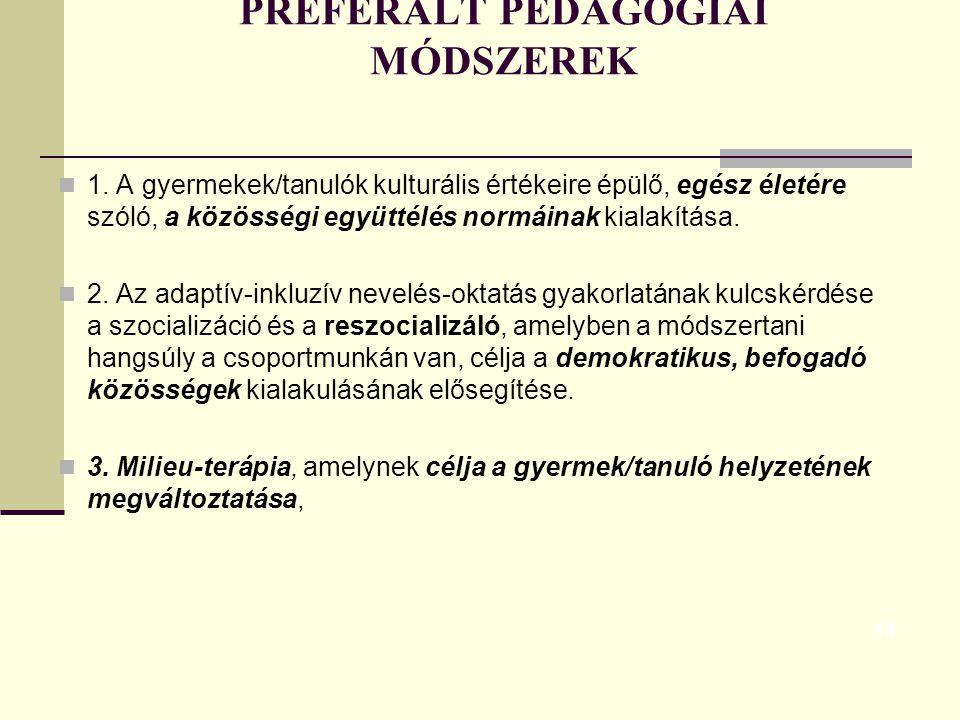 PREFERÁLT PEDAGÓGIAI MÓDSZEREK