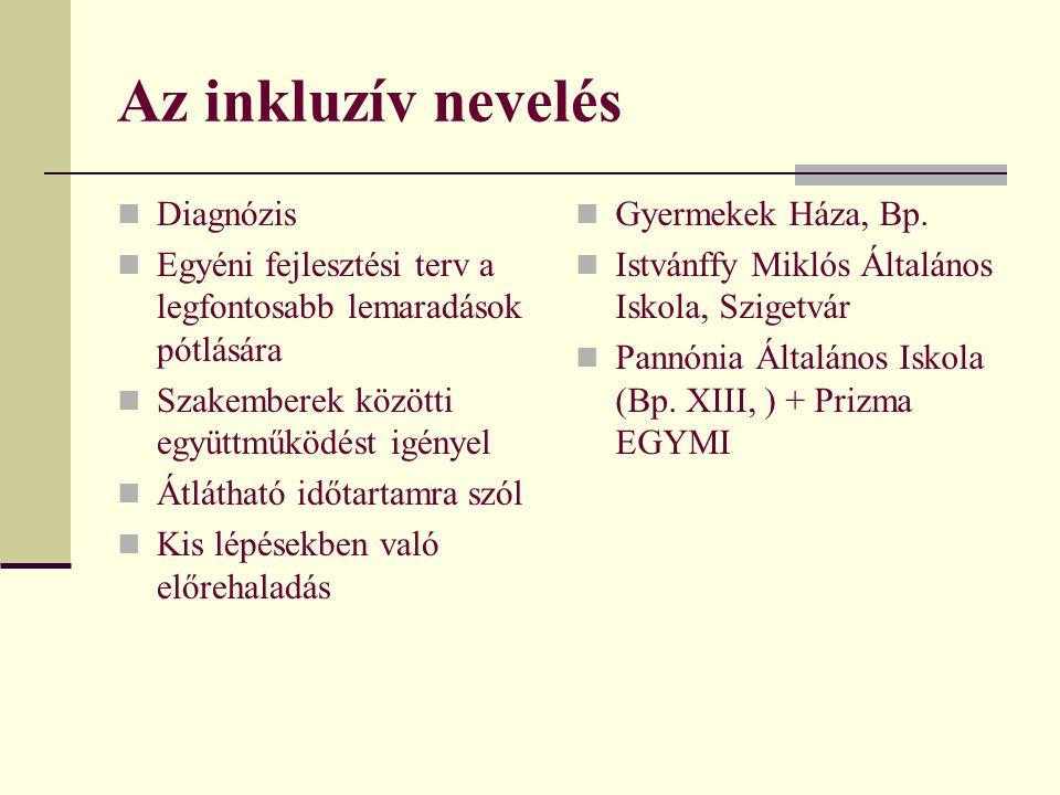 Az inkluzív nevelés Diagnózis