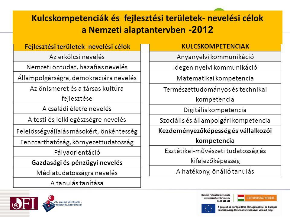 Kulcskompetenciák és fejlesztési területek- nevelési célok