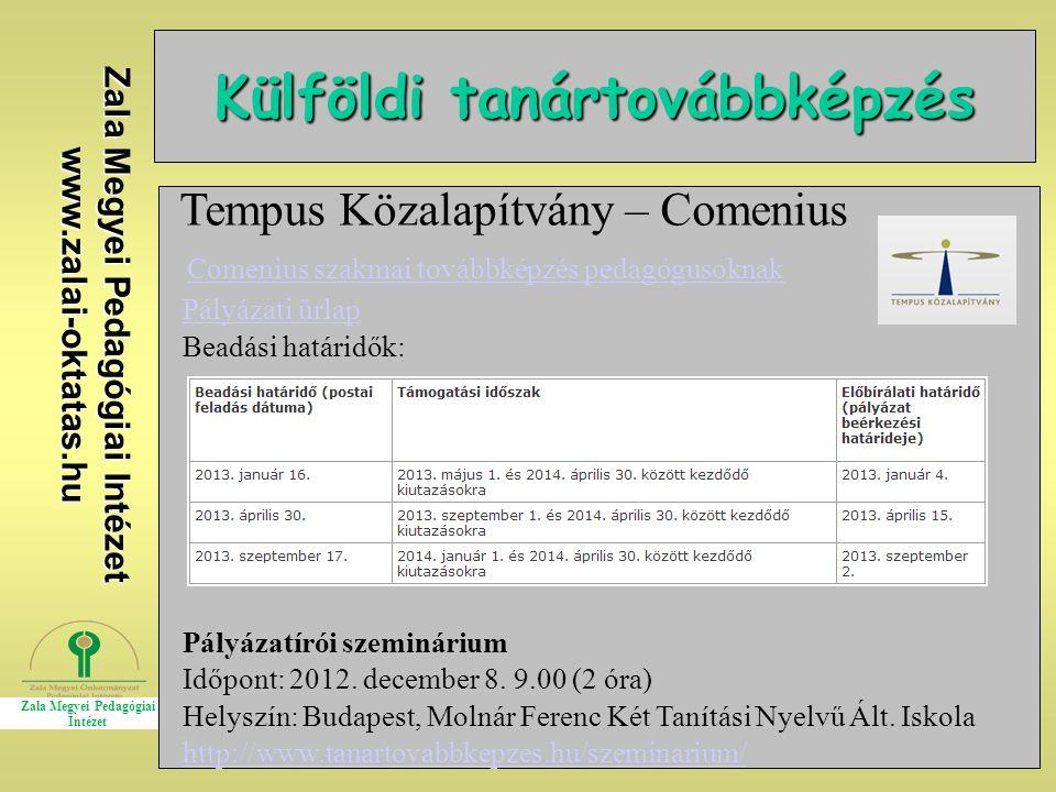 Külföldi tanártovábbképzés Zala Megyei Pedagógiai Intézet