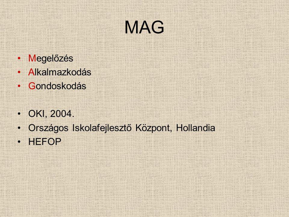 MAG Megelőzés Alkalmazkodás Gondoskodás OKI, 2004.