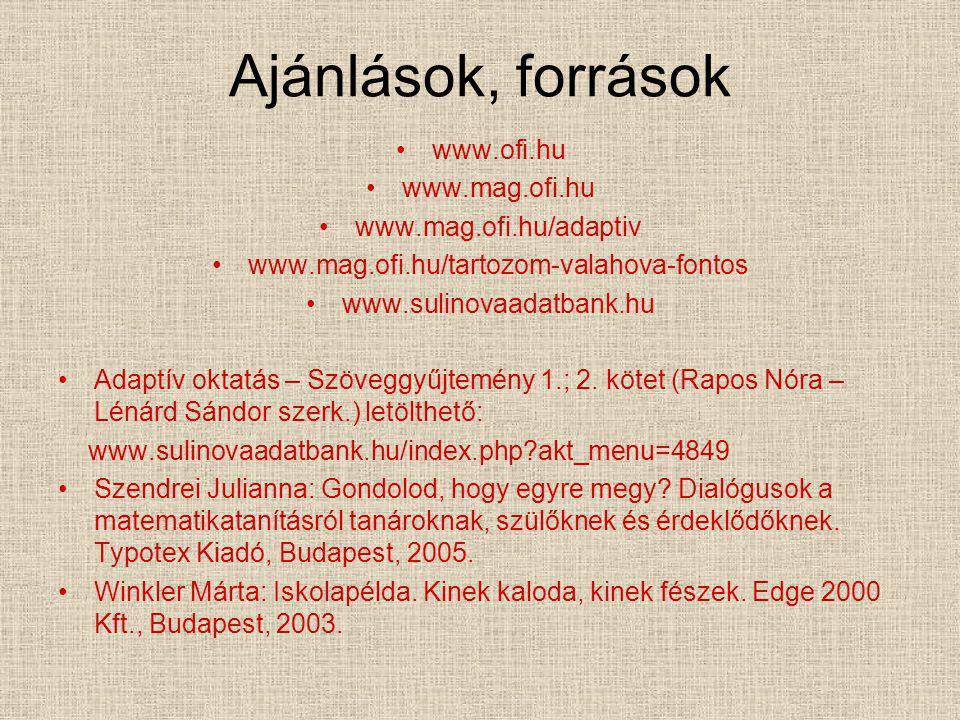 Ajánlások, források www.ofi.hu www.mag.ofi.hu www.mag.ofi.hu/adaptiv