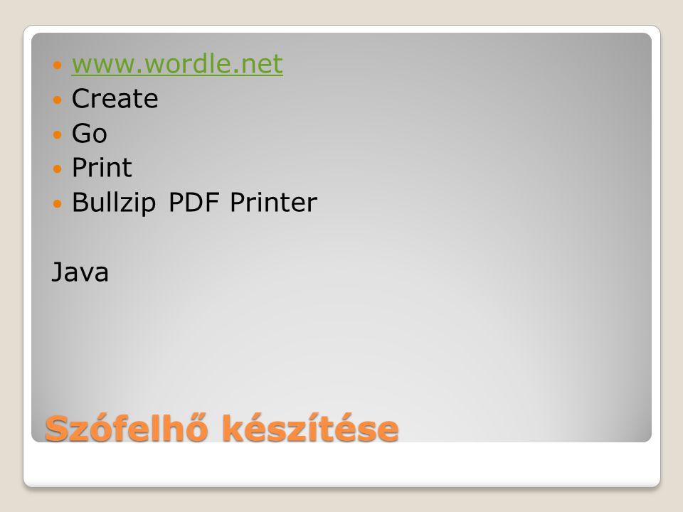 Szófelhő készítése www.wordle.net Create Go Print Bullzip PDF Printer