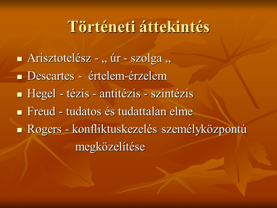 """Történeti áttekintés Arisztotelész - """" úr - szolga """""""