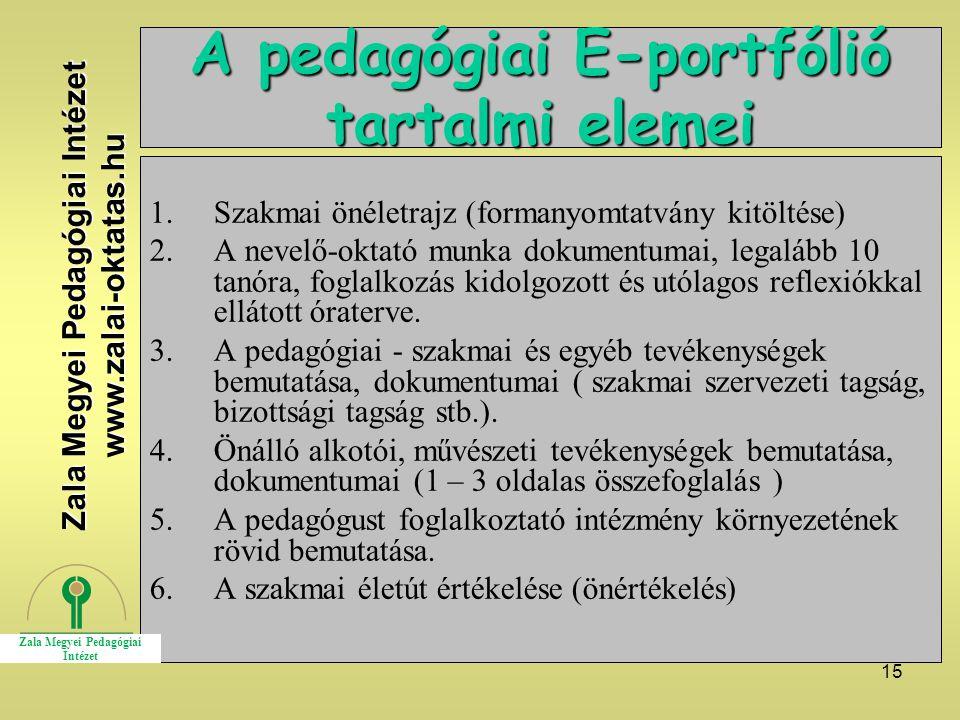 A pedagógiai E-portfólió tartalmi elemei