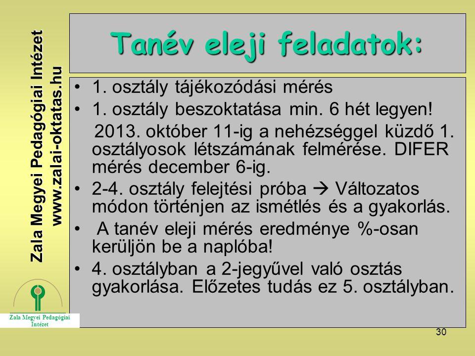 Tanév eleji feladatok: