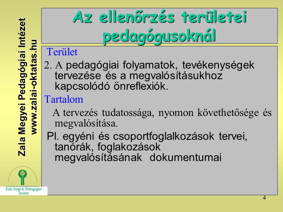 Az ellenőrzés területei pedagógusoknál